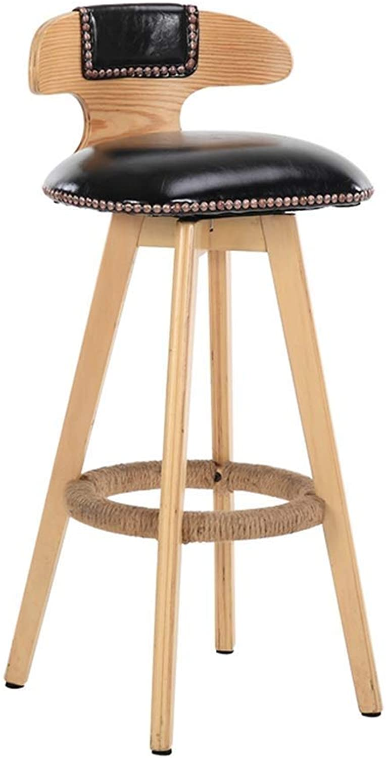 Solid Wood Bar Stool Creative Bar Chair Front Desk Chair redating Retro Fashion High Chair High Stool LEBAO (color   Black, Size   Log color Legs)