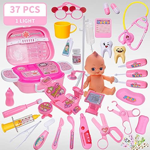 XKMY Juego de 20 – 39 piezas de doctor de juguete para niñas y enfermeras, juego de rol para niños, uniforme de odontología médica, maleta, educación para regalos para niños (color 37 piezas r