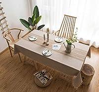綿のテーブルクロス長方形、長方形のテーブルクロス防水刺繍ラティスレーステーブルクロスピクニックテーブル用キャンプブルーグリーンラティス140x220CM