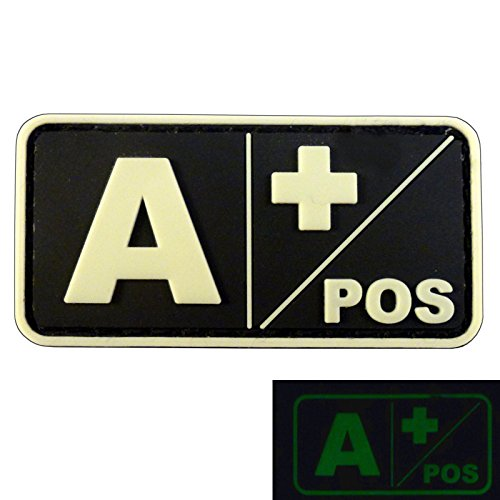 Glow in the Dark A POS Blood Type Morale Tactical PVC Rubber 3D Hook&Loop Patch