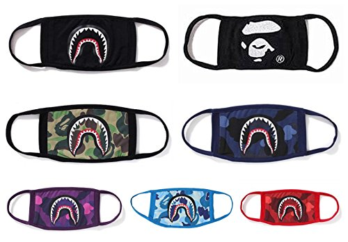 Xshelley 7-pack 6 Shark Face Mask and 1 Face Mask,cotty mask funny Anti-dust Face mask,Ski Cycling Camping Half Face Mouth Masks