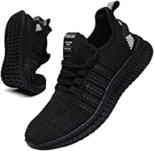 VNANV Mens Running Shoes Non Slip Rubber Outsole Walking Shoes for Men Breathable Comfortable Casual Sneakers Black Athletic Gym Tennis Shoes Mesh Work Shoe (11,White)
