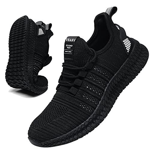 Zapatillas de correr para hombre de carretera, informales, antideslizantes, color negro, transpirables, para caminar, fitness, para hombre, White, 42 2/3 EU