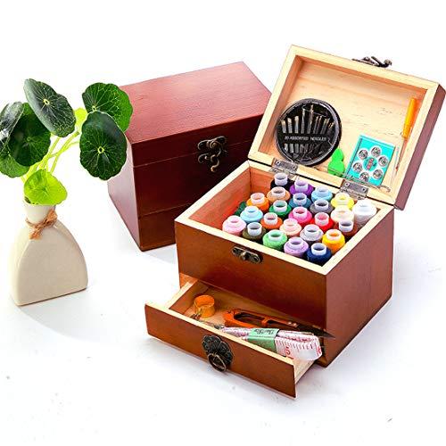 Holz sammlung Kit de Costura con Más de 70 Piezas Accesorios de Costura Premium con Funda de Transporte, Portátil Casa de Coser Conjunto, Casa Costura Caja para Viajes a Domicilio y Uso de Emergencia