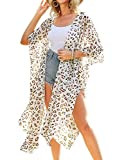 Womens Leopard Print Kimono Cover Up Casual Loose Open Front Chiffon Long Cardigans XL