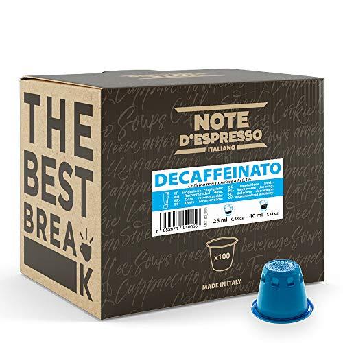 Note D'Espresso Capsule Compatibili con Sistema Nespresso, Caffè Decaffeinato, 100 caps