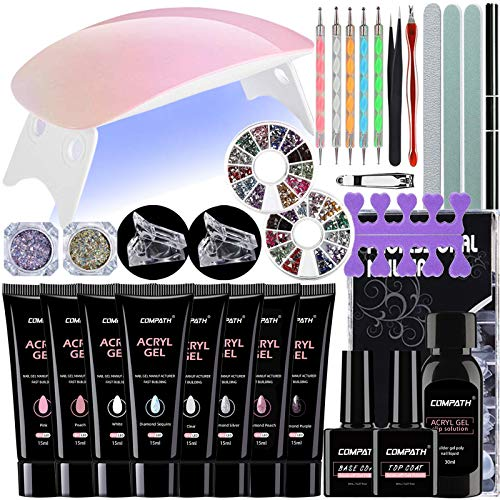 Poly Nail Gel Kit, Nail Extension Gel Kit, 8-Colours Poly Nail Enhancement Gel Kit with LED UV Nail Lamp, Nail Art Salon DIY All-in-One Kit for Professional Technician and Beginner, Gift Set.