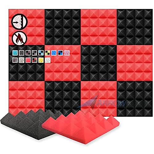 Super Dash Pacco da 12 di 25 X 25 X 5 cm Piramidali Fonoassorbenti Isolanti Studio Acustici Parete Piastrelle Pannelli SD1034 (ROSSO & NERO)