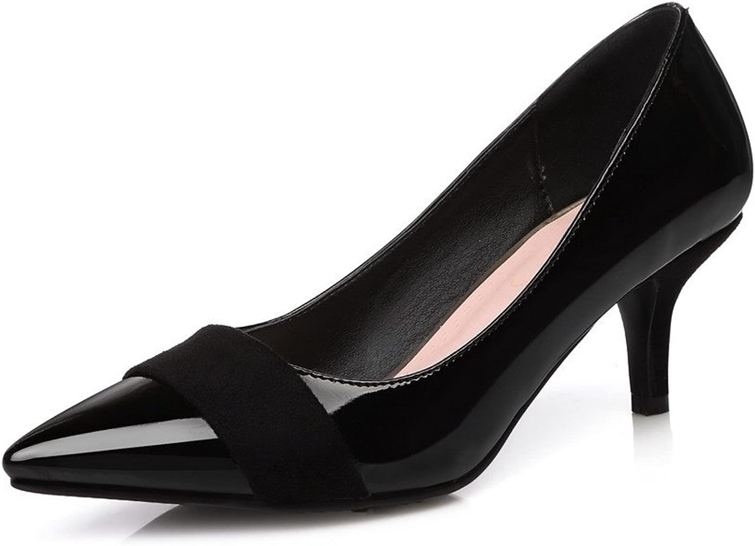 AmoonyFashion Women's Kitten-Heels Patent Leather Pull-on Pointed Closed Toe Pumps-shoes