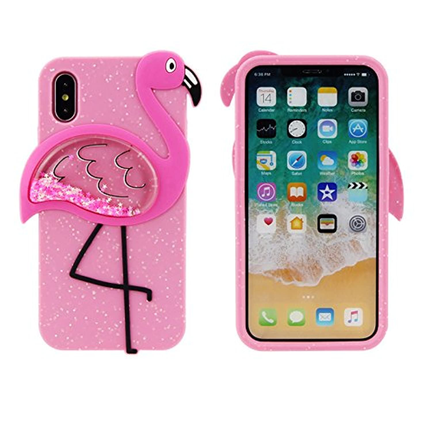 we3Dcell Flamingo luxury bling silicone soft protective waterfall stars Liquid Glitter Shiny 2 in 1 removable case 3D for iphone X/iphone 10