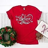 Toll2452 Believe Christmas Shirt - Camiseta de Navidad divertida, camiseta inspiradora, camisa de invierno,...