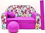 PRO COSMO M33Kinder Sofa Bett mit Puff/Fußbank/Kissen, Stoff, pink, 168x 98x 60cm