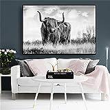 N / A Cartel de Pintura en Lienzo de Animales de montaña de Vaca en Blanco y Negro e impresión Mural Sala de Estar Pintura sin Marco 60cmX90cm