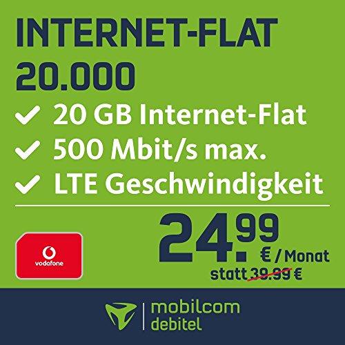 mobilcom-debitel Internet-Flat 20.000 im Vodafone Netz (24,99 EUR monatlich, 24 Monate Laufzeit, 20 GB Internet-Flat, LTE mit max. 500 MBit/s, EU-Roaming-Flat)