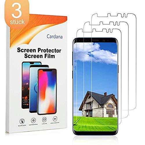 Cardana 3X Samsung Galaxy S9 Schutzfolie, Bildschirmschutzfolie [ Volle Abdeckung ] [Einfache blasenfreie Installation] [Designed in California], extrem langlebige Folie (Durchsichtig)