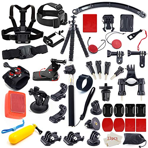MOUNTDOG Action Camera Accessory Kit for Go Pro Hero 8 7 6 5 4 3+ 3 Hero Session 5 Black AKASO EK7000 Apeman SJ4000 DBPOWER Campark with Selfie Stick Tripod Straps Car Suction Accessories