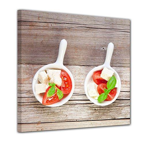 Bilderdepot24 Impression d'art - Salade Italiene - Image sur Toile - 40x40 cm 1 PCE - Toile Photos - Murale de Repas & Boisson - Salade Caprese - Hors-d'œuvre méditerranéen