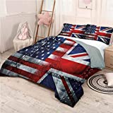 Union Jack Bed Sheets Set Full, Microfiber Sheet Set Alliance UK and USA Soft and Breathable with Zipper - Full 80'x90'