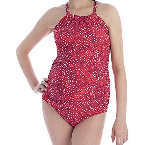 JIAXIAOYAN Plus Size Maillots de Bain Femmes Stripe Imprimer Dentelle Bikinis Maillot de Bain Beachwear Costume 2019 Sunsuit, Maillot de Bain Confortable Dames (Color : Red, Maternity Size : 3XL)