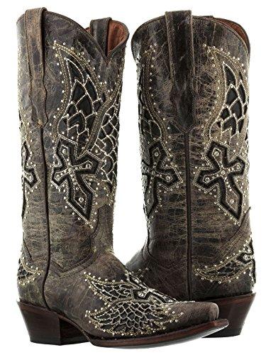 Women's Brown Angel Wings & Cross Leather Cowboy Boots Studded Rhinestones Snip Toe 11 Medium (B,M)