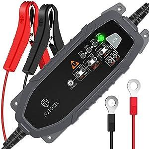 Cargador de Batería para Coche, AUTOXEL 3,8 A 6V/12V 8 Modos Inteligente Cargador/Mantenedor de Batería de Automóvil para Vehículos para LiFePO4 & Batería de Plomo ácido de Mojado, MF, VRLA, AGM y Gel