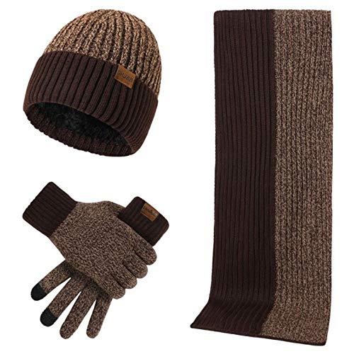 hfior Juego de 3 bufandas para otoño e invierno, de doble cara, color a juego, moda para hombres y mujeres, simple engrosamiento sombrero guantes