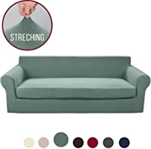 Vailge 2-Piece High Stretch Jacquard Large Sofa Slipcover, Durable Oversize Sofa Cover with Separate Cushion Cover, Machine Washable Couch Cover/Protector for Dogs,Living Room(XL Sofa:Sage)