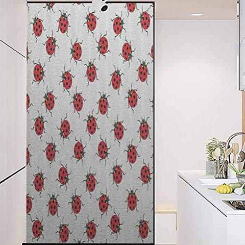 wonderr Waterproof Glass Window Privacy Film Stained Glass Sticker, Ladybugs Decorations Ladybugs Pattern Bunch of Bug, Home Bathroom Toilet Decorative, W23.6xH78.7 Inch