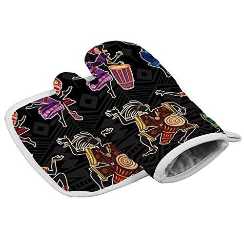 MayBlosom Manoplas de horno con estilo étnico tradicional, guantes de cocina y soportes para ollas, resistentes al calor, mitones de horno de microondas para barbacoas, cocinar y asar a la parrilla