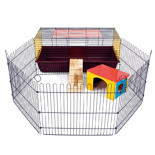 LITTLE FRIENDS Indoor Rabbit 100 Cage with Run: Ideal for Rabbits & Guinea Pigs