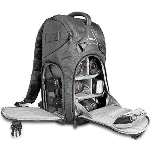 Mantona Rhodolit SLR-Kamerarucksack (geeignet für SLR mit angesetztem Objektiv, weitere Objektive, Systemblitz und Zubehör inkl. Regenschutz) schwarz