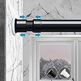 Prodigen Tension Curtain Rod, No Drilling Adjustable Tension Rod for Kitchen, Bathroom, Window, Bedroom, Balcony, Cupboard, Wardrobe, Bookshelf Room Divider Tension Rod Black 122-150 Inch