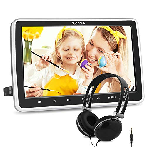 WONNIE - Reproductor de DVD para coche portátil de 10,5 pulgadas, reproductor de DVD, soporte de entrada HDMI AV in/Out USB SD región libre sin batería