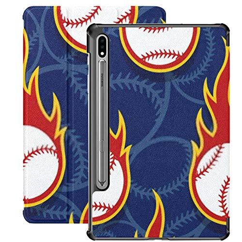 Funda Galaxy Tablet S7 Plus de 12,4 Pulgadas 2020 con Soporte para bolígrafo S, patrón sin Costuras Iconos de Pelota de béisbol Flames Funda Protectora con Soporte Delgado para Samsung