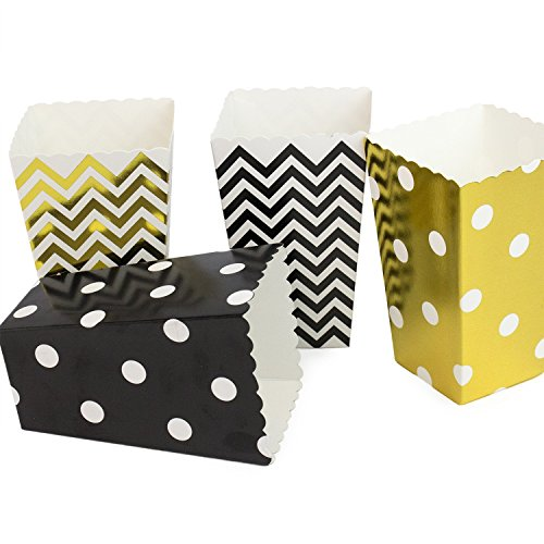 Chevron/Polka Dot Popcorn Candy Boxes, Black Gold Party Favors for Bridal/Baby Shower 48PCS