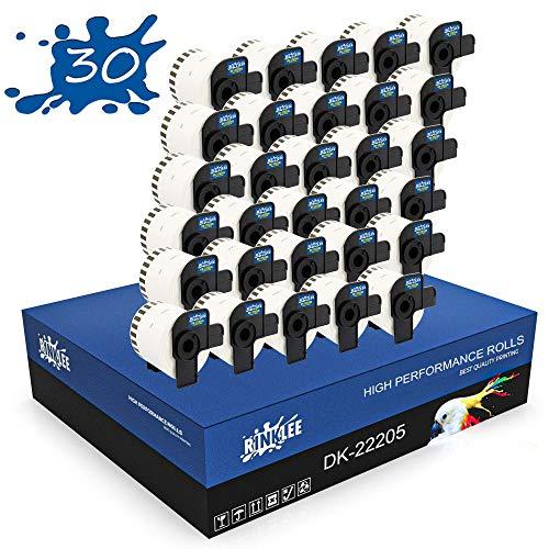 RINKLEE DK-22205 Etiquetas Continuas Compatible para Brother P-Touch QL-500 QL-550 QL-560 QL-570 QL-700 QL-710W QL-720NW QL-800 QL-810W QL-820NWB QL-1060N QL-1110NWB | 62 mm x 30.48 m | 30 Rollos