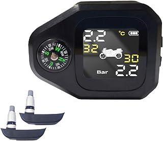 mewmewcat Sistema de monitoramento da pressão dos pneus da motocicleta 2 em 1 Monitor LCD inteligente em tempo real com C-...