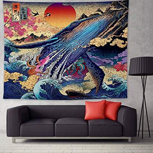 WERT Kanagawa Tapiz Gran Ola Colgante de Pared Tapiz de Ballena Tapiz Que Cubre la Pared Mandala Colcha Bohemia Tela de Fondo A2 180x200cm