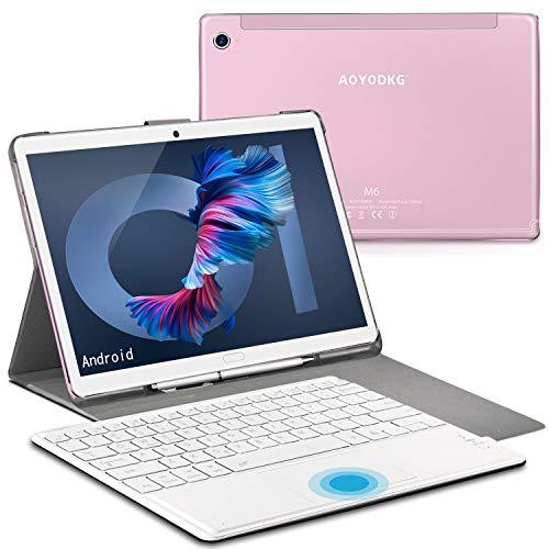 Tablet 10.8 Pollici Android 10, Schermo 2K Ultra HD, 16.0MP + 8.0MP, ConWiFi5G,DualSIM4G,6GB RAM, 128GB ROM   512GB di espansione, 8000mAh, GPS, WiFi, Bluetooth 5.0, Face ID,Type-C(Rosa)