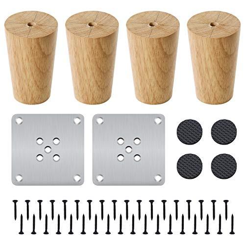 4 Stück Holzmöbelbeine 8cm Massivholz Kegelholz Sofabeine Ersatz-Möbelfüße mit Montageplatte, Schrauben und Anti-Rutsch-Matten für Sofa Tisch Stuhl Teeschrank