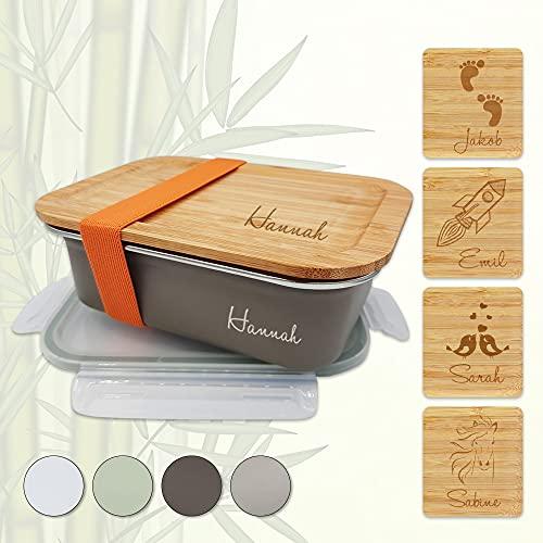 sprengers Personalisierte Edelstahl Brotdose | Bambus Deckel | Name | Motiv | Auslaufsicher | Lunchbox (Grau, 600 ml)