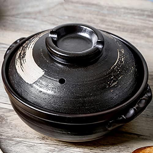 YISUPP Terracotta Cooking Olla para Estofado de Terracota Platos para Cazuelas con Tapas - Sartén Antiadherente, Cazuela de Cerámica No Fácil de Envejecer,A-2.8L