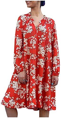 veRLene Dresses,Women's Dress Casual V-Neck Long Sleeve Print Mini Party Dress,Red,XXL