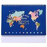 NUOBESTY 2021 Tischkalender Mini Stand Up Kalender Spule Kalender Kartenmuster Desktop Jahr Kalender Veranstalter Flip Tagesplaner Monatsseiten Tagesplaner Kalender