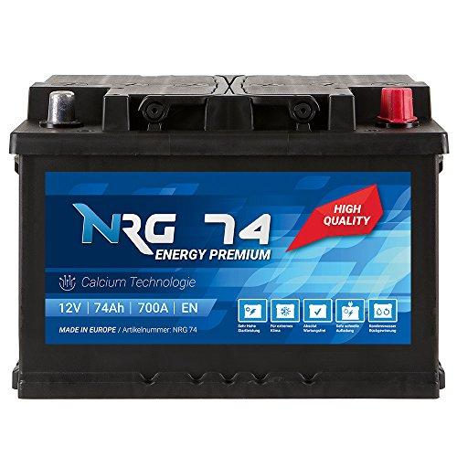 NRG Premium Autobatterie 12V 74Ah ersetzt 66AH 68AH 70AH 72AH 75AH Batterie