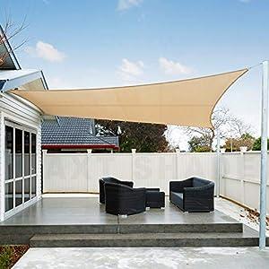 AXT SHADE Toldo Vela de Sombra Rectangular 3,5 x 4,5 m, protección Rayos UV Impermeable para Patio, Exteriores, Jardín, Color Arena