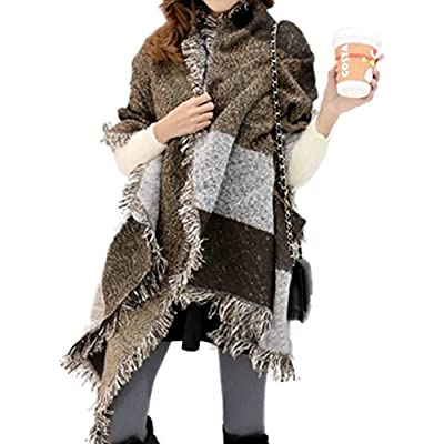 Womens Large Oversized Poncho Thick Patchwork Cape Blanket Shawl Scarf Wrap UK