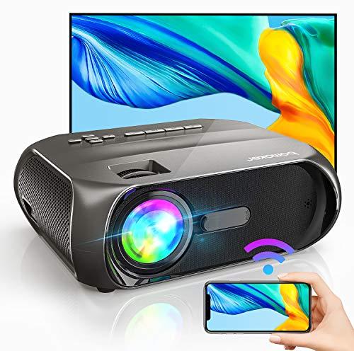 Proiettore Portatile WiFi, Videoproiettore 5500 Lumen 720P Nativo con Display 300' per Home Cinema, BOMAKER Supporto Full HD 1080P, Mirroring Schermo, per iPhone/Android/Laptop/Lettori DVD/Win10