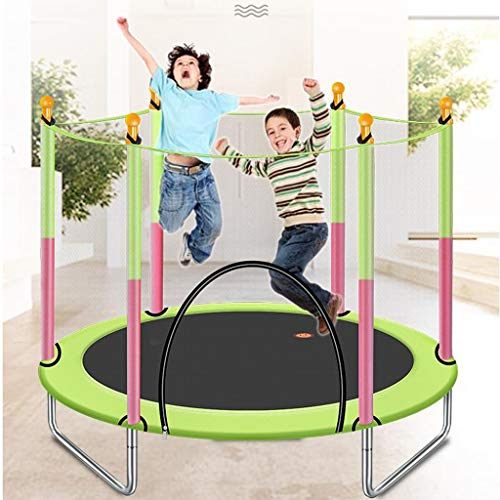 M-YN 4.6FT Trampoline for Kids-Trampoline with Net Safety Enclosure Springs Gymnastics Equipment (Color : Green)