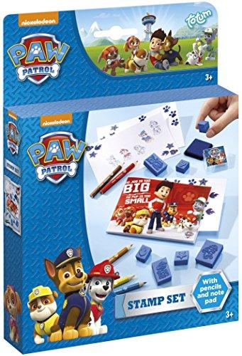 Totum Paw Patrol Marshall und Chase Stempelset / Malset mit 7 Motivstempeln, Stempelkissen in blau, Malblock und 5 Buntstiften, bunt, 720336